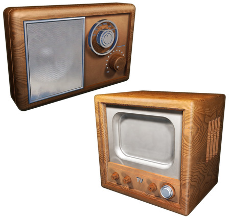 Old radio and old television set