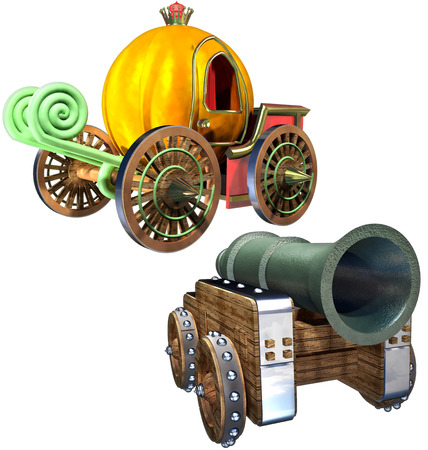 Carriage of pumpkin and Gun set