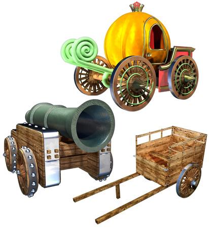 Carriage of pumpkin and Cart and Gun set photo