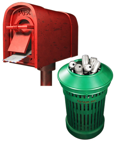 garbage can: Mailbox and Garbage can Stock Photo