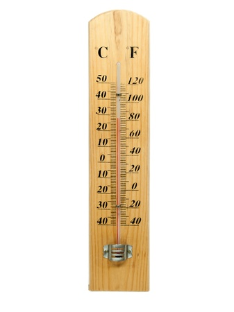 Celsius and Fahrenheit thermometer isolated photo
