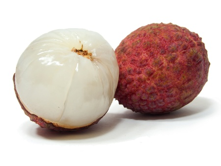 Fresh lychees isolated photo
