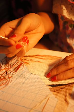 punto cruz: The process of cross stitch , working with the lamp Foto de archivo
