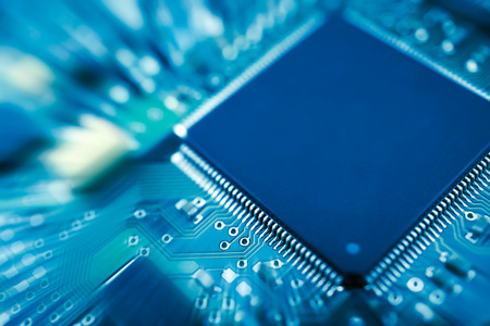 CPU electronic circuit on motherboard computer Stock Photo