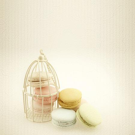 papel filtro: macarrones en el estilo de color de la vendimia en la textura de papel de morera