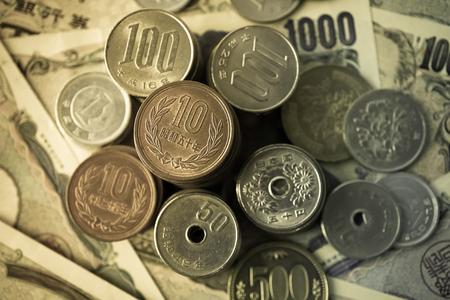yen: yen notes and yen coins for money concept background