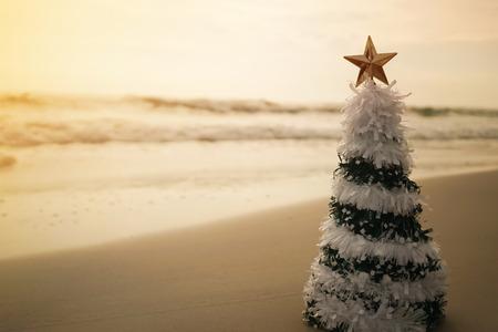christmas tree on the beach Standard-Bild