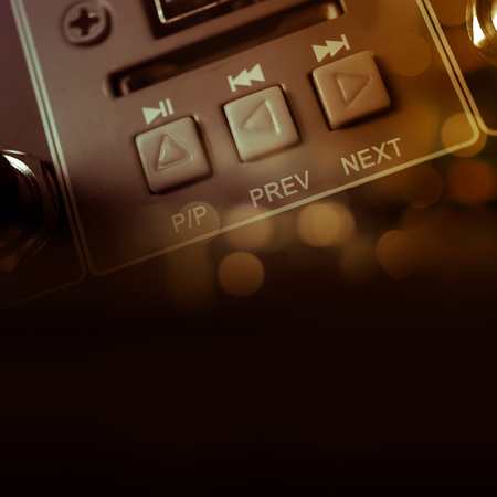 equalize: button on audio equalizer control panel Stock Photo