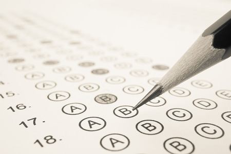 Answer sheet and pencil for education concept Stockfoto