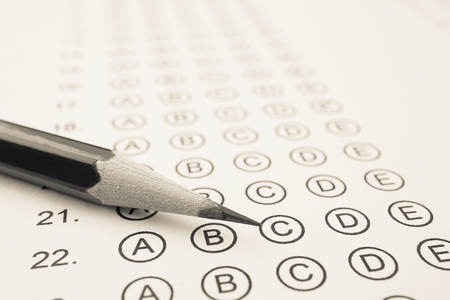 eraser mark: Answer sheet and pencil for education concept Stock Photo