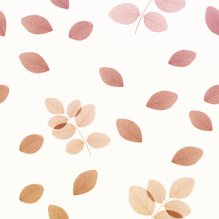 mulberry paper: brown leaves on white background (seamless pattern) for natural concept