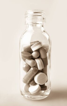 pills in the glass bottle (medical concept) Stock Photo