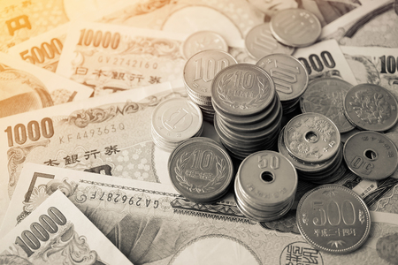 yen note: yen notes and yen coins for money concept background