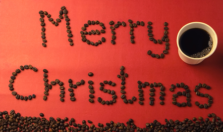 mulberry paper: Merry Christmas coffee beans on red paper texture