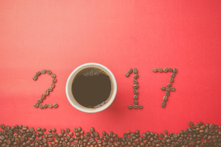 mulberry paper: 2017 coffee beans on paper texture in vintage style for new year concept