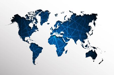 straight lines: Abstract blue straight lines with World map background. Vector file. Illustration