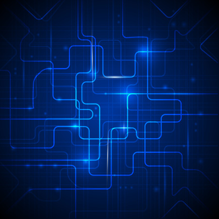 circuitos electricos: Ilustración vectorial Resumen de alta tecnología fondo azul
