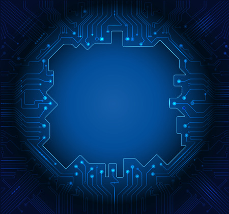blue light: Vector Illustration Blue abstract technology circuit background with blank space for your design