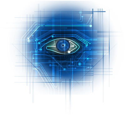 ojo azul: White Circuit board with blue eye circuit line background Vectores