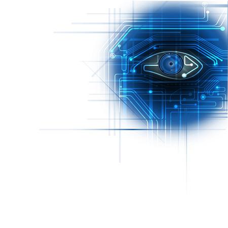 ojo azul: Placa de circuito blanco con el ojo azul de l�nea de circuito de fondo