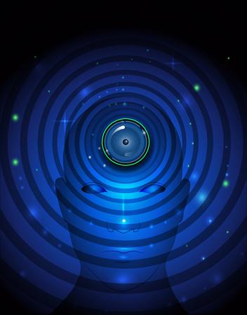 eye ball: Ilustraci�n vectorial tecnolog�a Bola abstracta de ojos en humanos se enfrentan fondo azul.