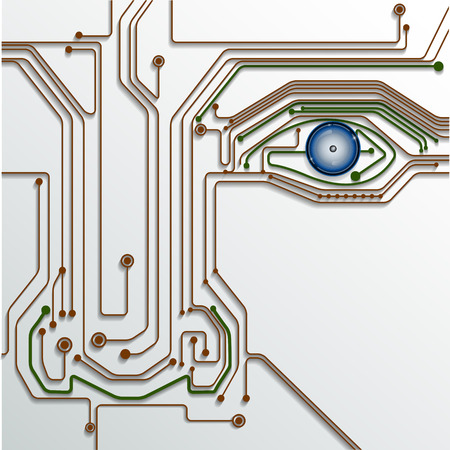 chips: Circuit board with eye technology  conceptual background