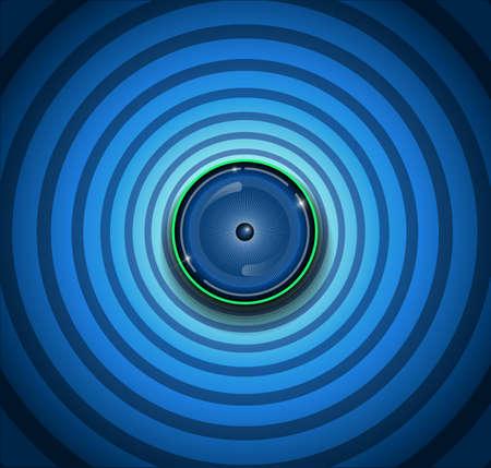 spyware: Vector Illustration of Spyware eyeball on ripple blue background.
