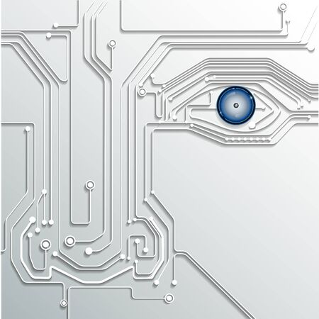 high technology: Circuit board with eye technology  conceptual background