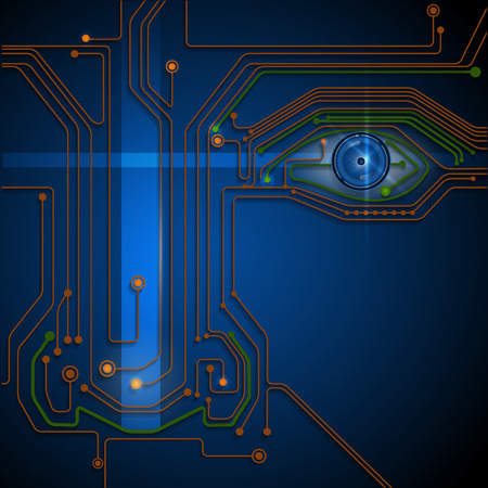 abstract eye: Circuit board- blue eye technology conceptual background Illustration