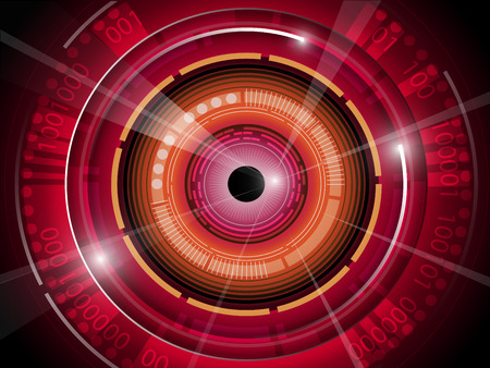 retina scan: illustration of red eyeball  technology background Illustration