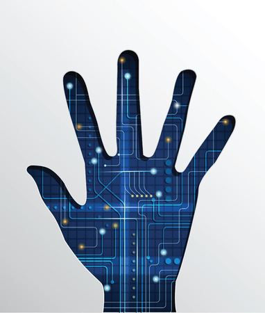 electronic components: Vector illustration Abstract circuit background in shape of human hand. Illustration