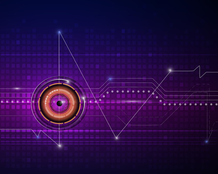 circuit: Illustration purple blue abstract technology and Eyeball on circuit background.Vector file