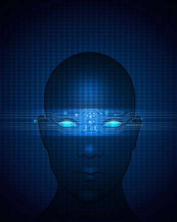 human vector: Blue Abstract background of modern digital technology . Abstract circuit on human face.Vector file. Illustration