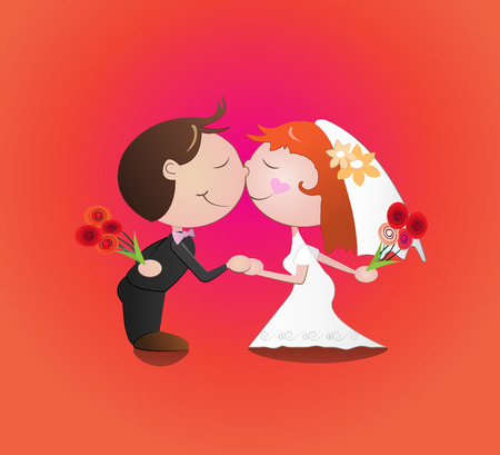 spouses: Vector illustration cartoon of  man and woman wedding kiss,Marriage Illustration