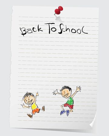 writing pad: Cute cartoon on notepad with a note that reads Back To School and a pin.Vector file.