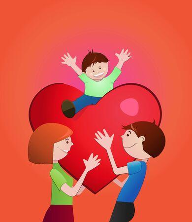 Family.Illustration Heureux d'un aimant dans le fichier de family.Vector. Vecteurs