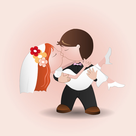 spouses: Vector illustration of wedding kiss,Marriage.