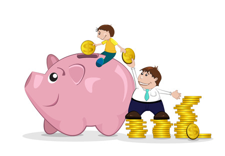 father and son: Father and son putting pennies in piggy bank Illustration