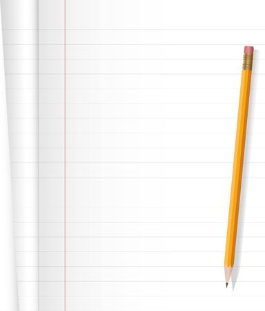 objects with clipping paths: Notebook and yellow pencil on white background .Vector file.