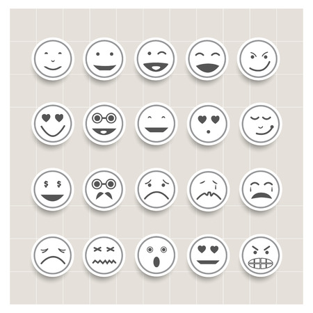 boring: Vector set face emotion,smiley icons, different emotions