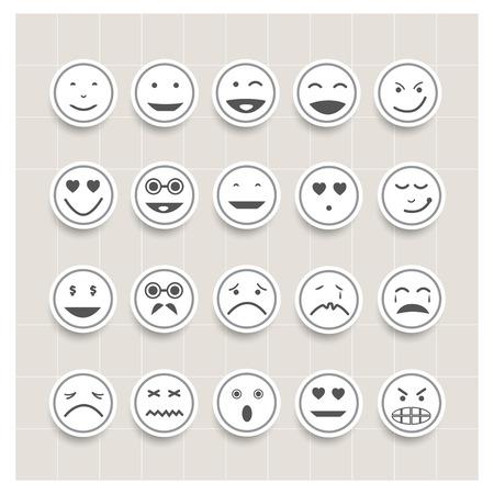 Vector set gezicht emotie, smiley iconen, verschillende emoties Stock Illustratie