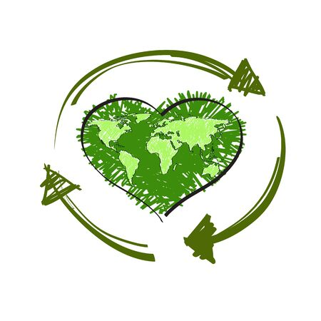 recycle symbol vector: Green map world in shape of heart and Recycle Symbol, Isolated On White Background, Vector Illustration
