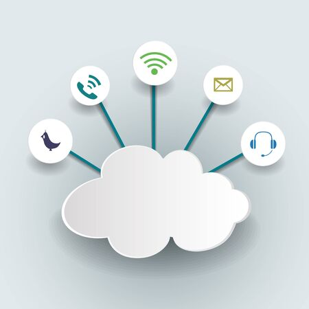 thinking link: Cloud computing concept with icons.Vector illustration