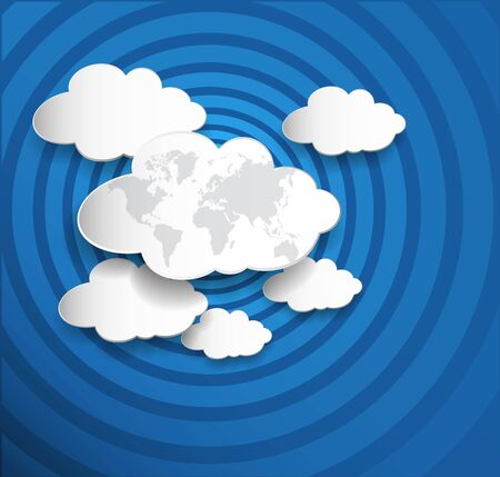 ripple: Cloud computing .Cloud with earth map on ripple blue background.