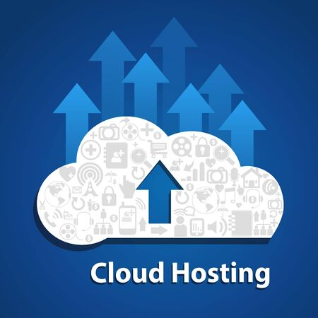 cloud hosting: Upload cloud .  Cloud hosting with arrow sign and icon