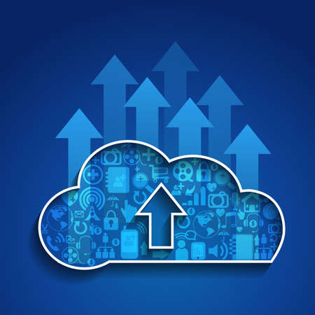 blue network: Upload cloud computing with Social network icon on blue color background.