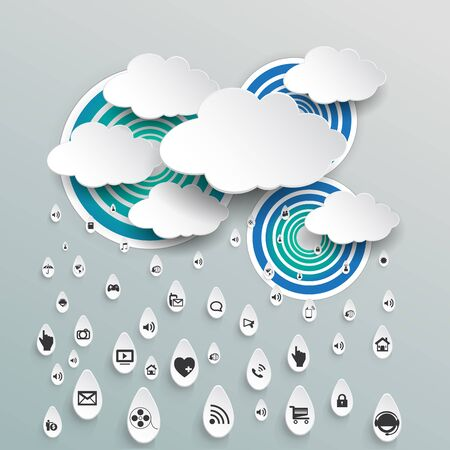 blue clouds: Cloud computing with icon in rain drops