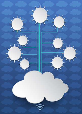 dialogue: Social networks.Cloud computing on blue background.blank space for your design Illustration