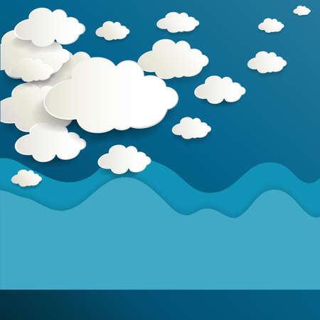 downloading: Vector paper clouds on a blue background with space for your design Illustration
