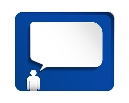 speech: Speech bubble  and white paper human over blue background. Illustration